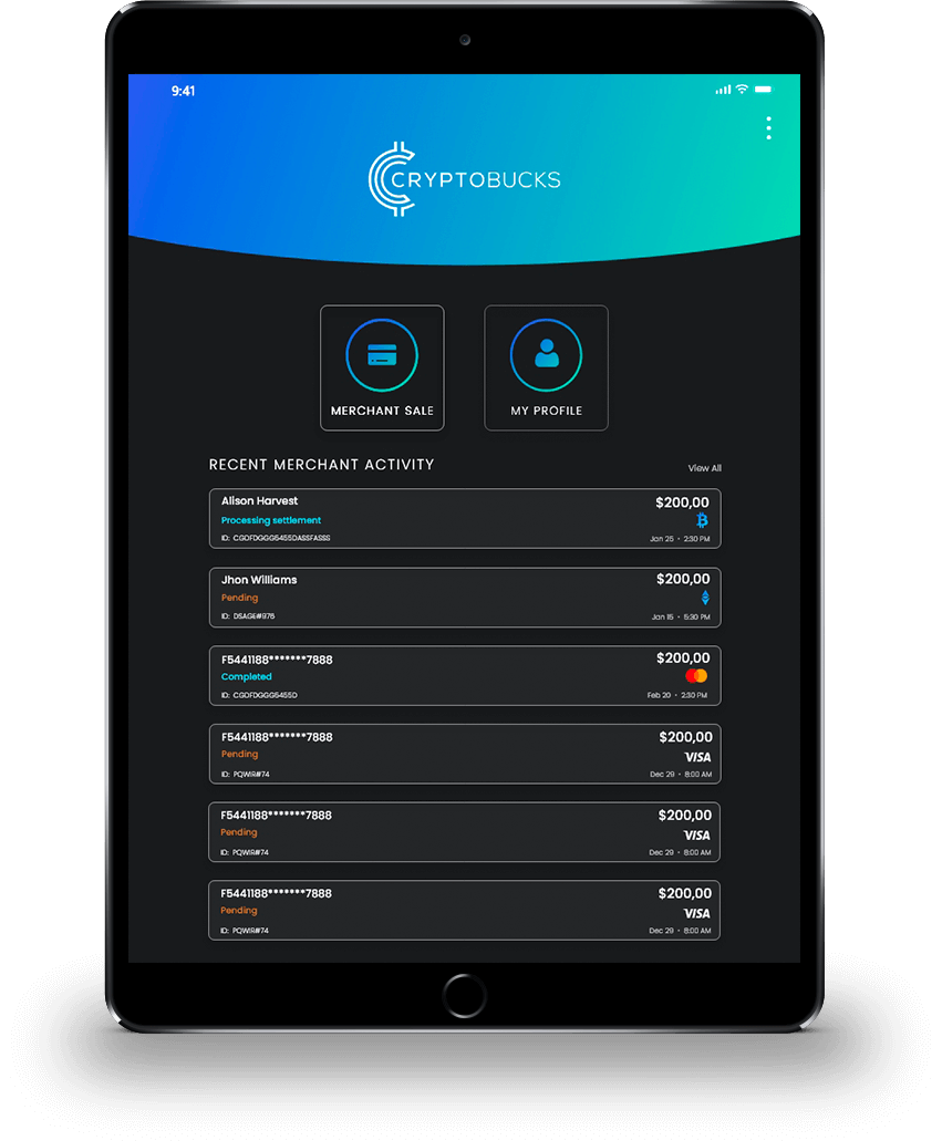 Manage payments through an Ipad